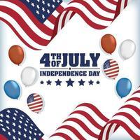 USA Unabhängigkeitstag mit Flaggen und Luftballons