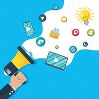 digital marknadsföring och sociala medier banner vektor