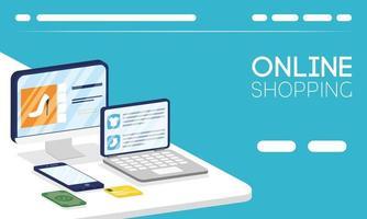 online shopping och e-handelsbanner vektor