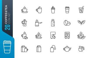 kaffe te Ikonuppsättning vektor