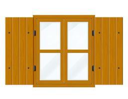 öppet träfönster med fönsterluckor och transparent glas vektor