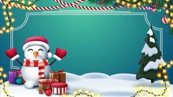 julgrön mall med plats för text vektor