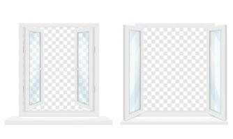 weißes transparentes Kunststofffenster mit Fensterbankgarnitur vektor