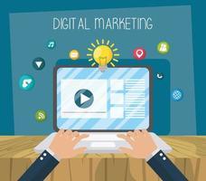digital marknadsföring och sociala medier vektor