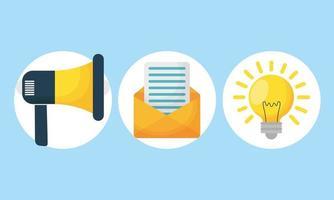 Ikonuppsättning för digital marknadsföring vektor