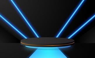 Podestbühne des 3D-Zylinders mit blauem Schein