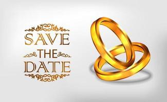 3d goldener Ring Verlobung vorschlagen Hochzeit romantisch vektor