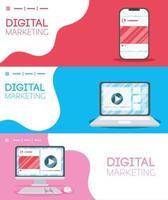 digital marknadsföringsbanner med elektroniska enheter