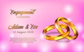 3d goldener Ring Verlobung vorschlagen Hochzeit romantisches Poster vektor