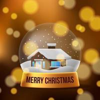 3d die weihnachtsheim-Schneekugeldekoration vektor