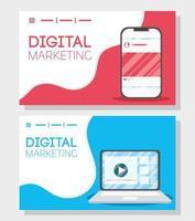 digital marknadsföringsbanner med bärbar dator och smartphone