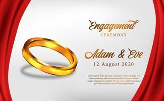 Verlobungszeremonie des goldenen Ringes 3d schlagen romantische Hochzeit vor vektor