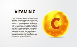 3d sfärmolekyl guldgult vitamin c vektor