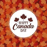 glad Kanada dag firande banner med lönnlöv vektor