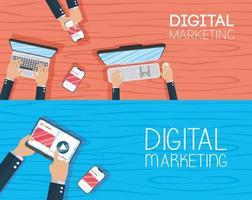 digitales Marketing-Bannerset mit elektronischen Geräten