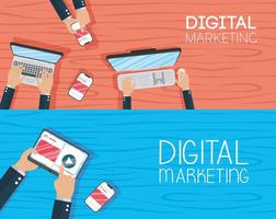 digital marknadsföringsbanner med elektroniska enheter vektor