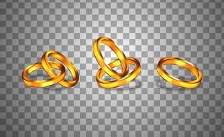 Paar golden glänzenden Ring für Verlobung realistisch vektor