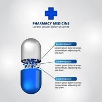 3d kapselpiller medicin medicin apotek infografisk data visualisering vektor