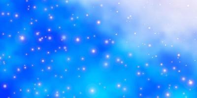 blauer Hintergrund mit bunten Sternen.
