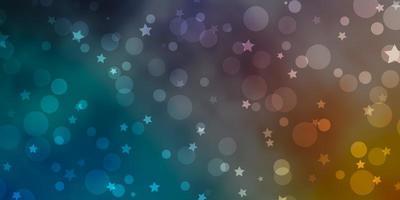 blauer, gelber Hintergrund mit Kreisen, Sternen.