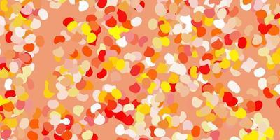 ljusrött, gult mönster med abstrakta former.