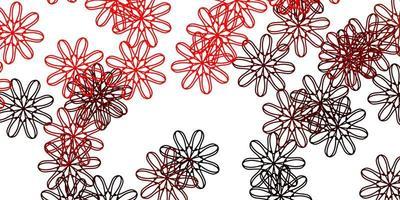 rött doodle mönster med blommor.