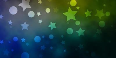 blauer, grüner Hintergrund mit Kreisen, Sternen.
