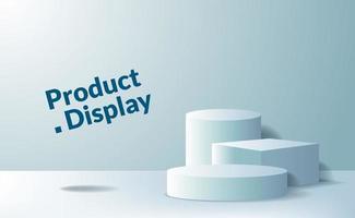 Podestbühne auf Sockel aus 3D-Würfel und Zylinder