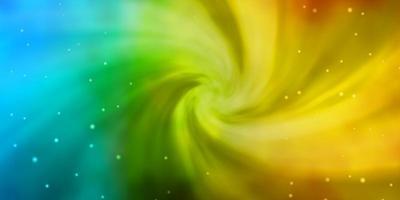ljusblå, gul bakgrund med färgglada stjärnor. vektor
