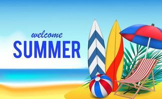 Hallo Sommertag Reiseurlaub am Strand vektor
