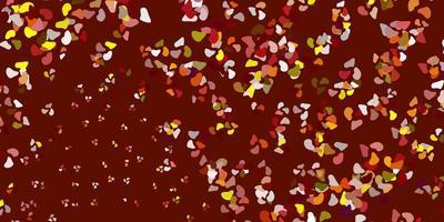 rött, gult mönster med abstrakta former.