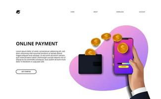 onlinebetalning målsida affärsekonomi e-handel vektor