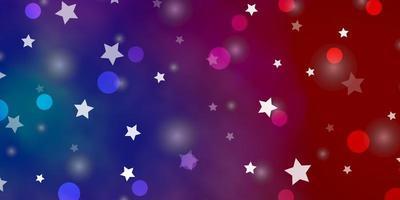 hellblaue, rote Textur mit Kreisen, Sternen.