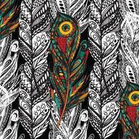 mönster med doodle fjädrar vektor
