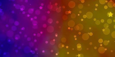hellrosa, gelbes Vektormuster mit Kreisen, Sternen. vektor