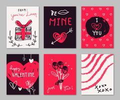 Röd och svart valentinkort Doodle handdragen samling vektor