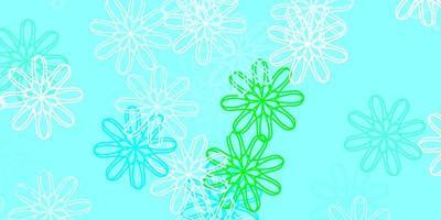 hellblaue, grüne Naturkunst mit Blumen.