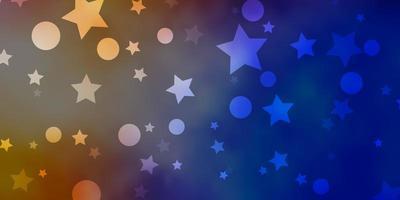 blauer, gelber Hintergrund mit Kreisen, Sternen. vektor