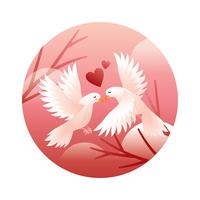 Taube-Paare im Liebes-Vektor
