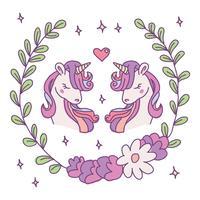 Paare der reizenden Einhörner vektor