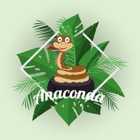 Tecknad Anaconda Illustration