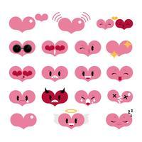 Herz Emoji Set Vektor