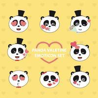 Panda Valentine Emoji-Set vektor
