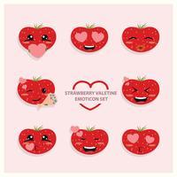 Erdbeer-Valentine Emoji-Ikonen-Set vektor