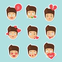Gullig Cartoon Boy Emoji vektor