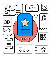 Lineare Ticket Icons vektor