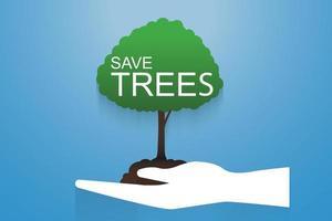 Baumschutz und Pflanzen von Bäumen für die Umwelt vektor