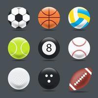 uppsättning lutande sport bollar