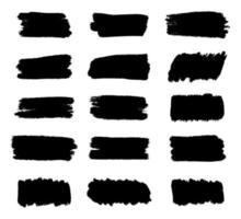 uppsättning svarta penseldrag, smutsiga grungeelement vektor