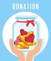 välgörenhets- och donationsburk med hjärtan och mynt vektor